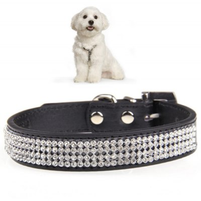 Adjustable Rhinestone Style PU Pet Collar