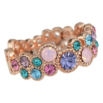 Colorful Rhinestone Geometric Ring