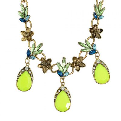 Trendy Faux Crystal Water Drop Necklace For Women