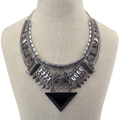 Vintage Alloy Faux Crystal Hollow Out Triangle Necklace