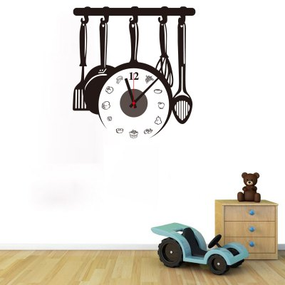 Kitchen Ware Shape DIY Clock Wall DecorsClocks<br>Kitchen Ware Shape DIY Clock Wall Decors<br><br>Type: Wall Clock<br>Theme: Pastoral<br>Style: Fashion, Contemporary, Modern<br>Time Display: Analog<br>Material: Plastic, PVC, ABS<br>Shape: Round, Novelty<br>Color: Black<br>Product weight   : 0.180 kg<br>Package weight   : 0.250 kg<br>Product size (L x W x H)   : 42 x 40 x 3 cm / 16.51 x 15.72 x 1.18 inches<br>Package size (L x W x H)  : 19 x 32 x 4.5 cm / 7.47 x 12.58 x 1.77 inches<br>Package Contents: 1 x Clock, 1 x Sticker