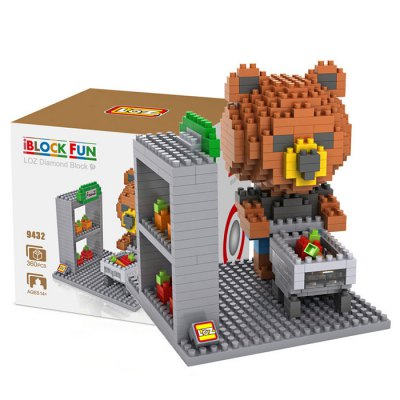 LOZ 360Pcs 9432 Brown Bear Shopping Building Block Toy for Enhancing Social Cooperation Ability