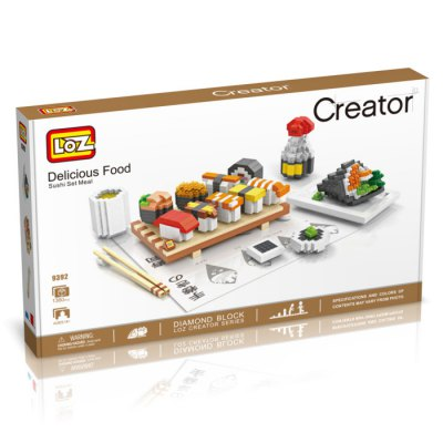 LOZ 1360Pcs 9392 Delicious Food Sushi Set Meal Building Block Toy for Enhancing Social Cooperation Ability