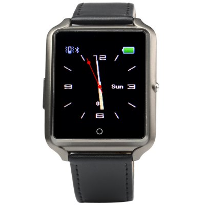 Bluboo U watch Smart WatchSmart Watches<br>Bluboo U watch Smart Watch<br><br>Brand: Bluboo<br>Built-in chip type: MTK 2501<br>Bluetooth version: Bluetooth 4.0<br>RAM: 24M<br>ROM: 32M<br>Waterproof: YES<br>Waterproof rating: IP65<br>Bluetooth calling: Phonebook, Call log sync, Phone call reminder, Answering, Dialing<br>Messaging: Message checking, Message reminder<br>Health tracker: Sedentary reminder, Pedometer, Sleep monitor<br>Remote control: Camera remote, Music remote<br>Notification: Yes<br>Anti-lost: Yes<br>Find phone: Yes<br>Other functions: Alarm, Stopwatch<br>Groups of alarm: 5 sets<br>Alert type: Vibration, Ring<br>Locking screen : 4 kinds of clock interfaces<br>Screen: TFT<br>Screen resolution: 128 x 128 px<br>Screen size: 1.44 inch<br>Battery type: Polymer Li-ion battery<br>Battery capacity: 350mAh<br>Standby time: About 72 hours<br>People: Unisex watch<br>Shape of the dial: Rectangle<br>Case material: Aluminium<br>Band material: Fluoroelastomer<br>Compatible OS: Android, iOS<br>Compatability: Android / iOS 5.0 and above system<br>Language: Deutsch, English, Spanish, Russian, Portuguese, Italian, French<br>Available color: Black, Gold, Silver<br>Dial size: 5.1 x 3.8 x 1.0 cm / 2.0 x 1.5 x 0.39 inches<br>Wearing diameter: 18 - 22.5 cm / 7.09 - 8.86 inches<br>The band width: 2.0 cm / 0.79 inches<br>Product size (L x W x H) : 25 x 3.8 x 1 cm / 9.83 x 1.49 x 0.39 inches<br>Package size (L x W x H): 12.5 x 8 x 6 cm / 4.91 x 3.14 x 2.36 inches<br>Product weight: 0.043 kg<br>Package weight: 0.14 kg<br>Package contents: 1 x Bluboo U watch Smart Watch, 1 x USB Charging Cable, 1 x Chinese and English Manual