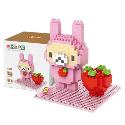 LOZ 280Pcs 9435 Anime Strawberry Bunny Building Block Toy for Enhancing Social Cooperation Ability