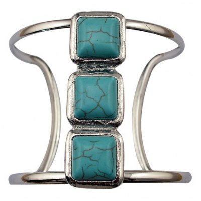 Graceful Faux Turquoise Square Hollow Out Cuff Bracelet For Women