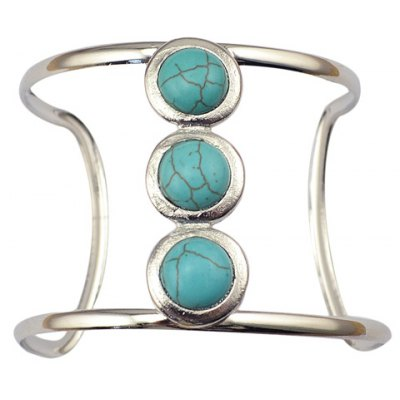 Faux Turquoise Round Hollow Out Cuff Bracelet