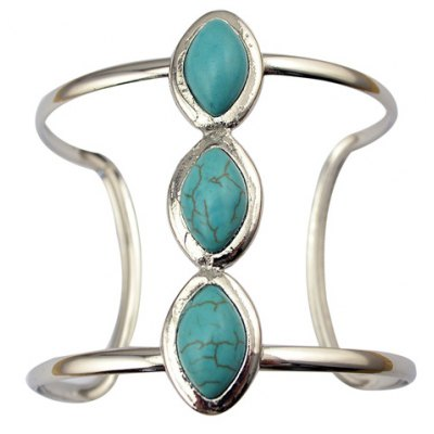 Hollow Out Faux Turquoise Geometric Cuff Bracelet
