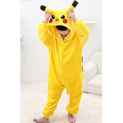 Cute Long Sleeve Hooded Pikachu Design Kid's One-Piece Pajamas