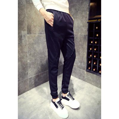 Beam Feet Solid Color Zipper Pocket Lace-Up Mens PantsMens Pants<br>Beam Feet Solid Color Zipper Pocket Lace-Up Mens Pants<br><br>Style: Casual<br>Material: Cotton Blends<br>Fit Type: Regular<br>Waist Type: Low<br>Closure Type: Elastic Waist<br>Front Style: Flat<br>Weight: 0.510KG<br>Pant Length: Long Pants<br>Pant Style: Pencil Pants<br>Package Contents: 1 x Pants