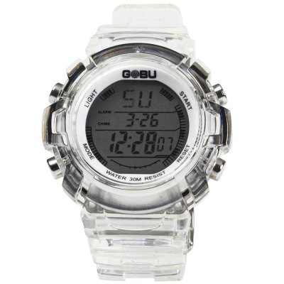 Gobu 1581 Transparent Body Men LED Sports WatchSports Watches<br>Gobu 1581 Transparent Body Men LED Sports Watch<br><br>Brand: Gobu<br>People: Male table<br>Watch style: Outdoor Sports, LED<br>Available color: Red, Blue, Green, Black, Purple, White<br>Movement type: Digital watch<br>Display type: Analog<br>Hour formats: 24 Hour<br>Case material: PC<br>Band material: Rubber<br>Clasp type: Pin buckle<br>Special features: Date, Alarm clock, Stopwatch, EL Back-light, Day<br>Water resistance: 30 meters<br>The dial thickness: 1.3 cm / 0.51 inches<br>The dial diameter: 4.2 cm / 1.65 inches<br>The band width: 2.0 cm / 0.79 inches<br>Product weight: 0.063 kg<br>Package weight: 0.113 kg<br>Product size (L x W x H) : 25 x 4.2 x 1.3 cm / 9.83 x 1.65 x 0.51 inches<br>Package size (L x W x H): 26 x 5.2 x 2.3 cm / 10.22 x 2.04 x 0.90 inches<br>Package contents: 1 x Gobu 1581 Watch