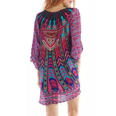 ФОТО Stylish Lace-Up V-Neck Colorful Ethnic Print 3/4 Sleeve Dress For Women