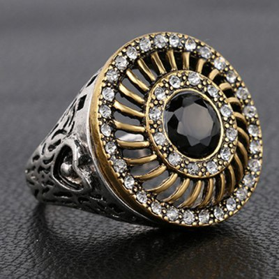 Vintage Rhinestoned Faux Gemstone Round Hollow Out Ring For Men