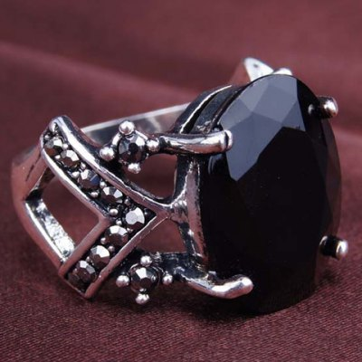 Vintage Faux Gemstone Geometric Hollow Out Ring