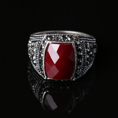 Noble Faux Gemstone Rectangle Carving Pattern Ring For Men