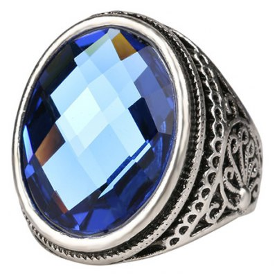 Graceful Faux Gemstone Oval Carving Pattern Ring For Men