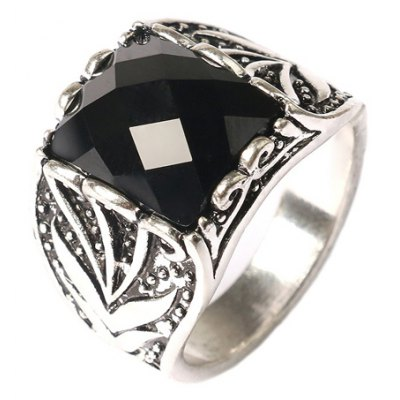 Graceful Faux Gemstone Rectangle Carving Pattern Ring For Men