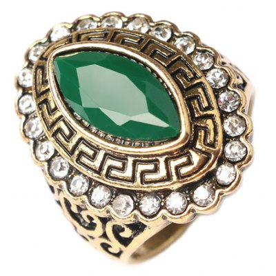 Vintage Rhinestoned Faux Gemstone Oval Ring For Men