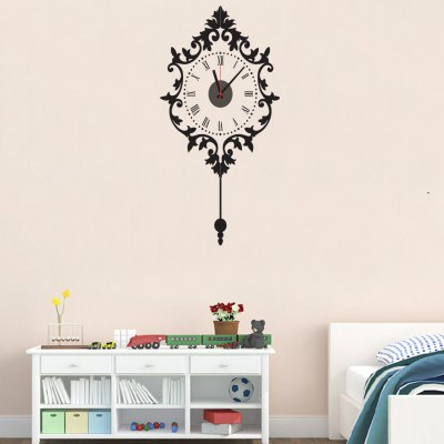 Retro Style DIY Wallpaper Wall ClockWall Stickers<br>Retro Style DIY Wallpaper Wall Clock<br><br>Type: Wall Clock<br>Theme: Scenic<br>Style: Contemporary, Fashion, Modern<br>Time Display: Analog<br>Material: PVC, Plastic, ABS<br>Shape: Novelty, Round<br>Color: Black<br>Product weight   : 0.180 kg<br>Package weight   : 0.250 kg<br>Product size (L x W x H)   : 90 x 50 x 3 cm / 35.37 x 19.65 x 1.18 inches<br>Package size (L x W x H)  : 19 x 32 x 4.5 cm / 7.47 x 12.58 x 1.77 inches<br>Package Contents: 1 x Clock, 1 x Sticker