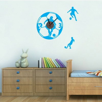 Football Cartoon Style DIY Wallpaper Wall ClockWall Stickers<br>Football Cartoon Style DIY Wallpaper Wall Clock<br><br>Type: Wall Clock<br>Style: Modern, Fashion, Cute, Contemporary<br>Time Display: Analog<br>Material: Plastic, PVC, ABS<br>Shape: Round, Novelty<br>Color: Black<br>Product weight   : 0.180 kg<br>Package weight   : 0.250 kg<br>Product size (L x W x H)   : 60 x 60 x 3 cm / 23.58 x 23.58 x 1.18 inches<br>Package size (L x W x H)  : 19 x 32 x 4.5 cm / 7.47 x 12.58 x 1.77 inches<br>Package Contents: 1 x Clock, 1 x Sticker