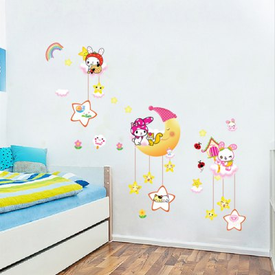 AM909 Rabbit on the Moon Style Removable Wall StickerWall Stickers<br>AM909 Rabbit on the Moon Style Removable Wall Sticker<br><br>Subjects: Landscape, Animal, Botanical, Famous, People, Abstract<br>Art Style: Plane Wall Stickers, Toilet Stickers<br>Functions: Decorative Wall Stickers<br>Hang In/Stick On: Car, Bathroom, Bedrooms, Toilet, Offices, Stair, Nurseries, Lobby, Cafes, Kids Room, Hotels, Living Rooms<br>Material: Vinyl(PVC)<br>Layout Size (L x W): 90 x 60cm<br>Effect Size (L x W): 150 x 100cm<br>Product weight   : 0.150 kg<br>Package weight   : 0.210 kg<br>Product size (L x W x H)   : 90 x 60 x 0.1 cm / 35.37 x 23.58 x 0.04 inches<br>Package size (L x W x H)  : 61 x 4 x 4 cm / 23.97 x 1.57 x 1.57 inches<br>Package Contents: 1 x AM909 Rabbit on the Moon Style Removable Wall Sticker