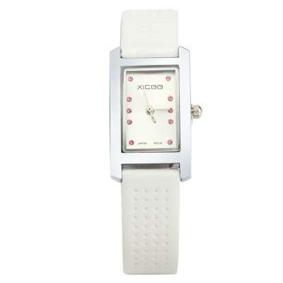 XICOO 450 Leather Band Diamond Women Quartz WatchWomens Watches<br>XICOO 450 Leather Band Diamond Women Quartz Watch<br><br>Brand: Xicoo<br>Watches categories: Female table<br>Available color: Red, Brown, White and Black, Black, White<br>Style: Fashion&amp;Casual<br>Movement type: Quartz watch<br>Shape of the dial: Round<br>Display type: Analog<br>Case material: Stainless steel<br>Band material: Leather<br>Clasp type: Pin buckle<br>The dial thickness: 0.6 cm / 0.24 inches<br>The dial diameter: 1.5 cm / 0.59 inches<br>The band width: 0.6 cm / 0.24 inches<br>Wearable length: 15 - 20.5 cm / 5.9 - 8.07 inches<br>Product weight: 0.020 kg<br>Package weight: 0.070 kg<br>Product size (L x W x H) : 21 x 1.5 x 0.6 cm / 8.25 x 0.59 x 0.24 inches<br>Package size (L x W x H): 22 x 2.5 x 1.6 cm / 8.65 x 0.98 x 0.63 inches<br>Package contents: 1 x XICOO 450 Watch