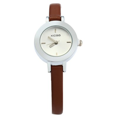 XICOO 474 Slim Leather Band Female Quartz WatchWomens Watches<br>XICOO 474 Slim Leather Band Female Quartz Watch<br><br>Brand: Xicoo<br>Watches categories: Female table<br>Available color: White, Brown<br>Style: Fashion&amp;Casual<br>Movement type: Quartz watch<br>Shape of the dial: Round<br>Display type: Analog<br>Case material: Stainless steel<br>Band material: Leather<br>Clasp type: Pin buckle<br>The dial thickness: 0.8 cm / 0.31 inches<br>The dial diameter: 2.4 cm / 0.94 inches<br>The band width: 0.5 cm / 0.2 inches<br>Wearable length: 14 - 19 cm / 5.51 - 7.48 inches<br>Product weight: 0.015 kg<br>Package weight: 0.065 kg<br>Product size (L x W x H) : 20 x 2.4 x 0.8 cm / 7.86 x 0.94 x 0.31 inches<br>Package size (L x W x H): 21 x 3.4 x 1.8 cm / 8.25 x 1.34 x 0.71 inches<br>Package contents: 1 x XICOO 474 Watch
