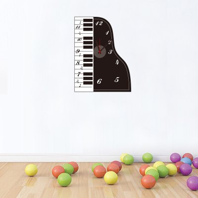 Piano Type DIY Wallpaper Wall ClockWall Stickers<br>Piano Type DIY Wallpaper Wall Clock<br><br>Type: Wall Clock<br>Theme: Animals, Scenic, Pastoral, Inspirational<br>Style: Cute, Fashion, Modern, Contemporary<br>Time Display: Analog<br>Material: PVC, Plastic, ABS<br>Shape: Novelty, Round<br>Color: Black<br>Product weight   : 0.180 kg<br>Package weight   : 0.250 kg<br>Product size (L x W x H)   : 48 x 40 x 3 cm / 18.86 x 15.72 x 1.18 inches<br>Package size (L x W x H)  : 19 x 32 x 4.5 cm / 7.47 x 12.58 x 1.77 inches<br>Package Contents: 1 x Clock, 1 x Sticker