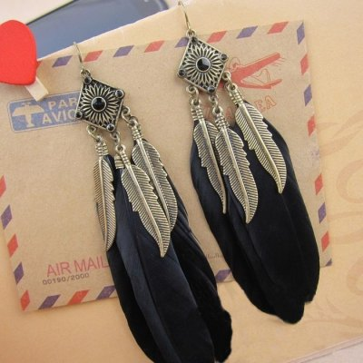 Pair of Vintage Feather Shape Tassel Drop Earrings For Women