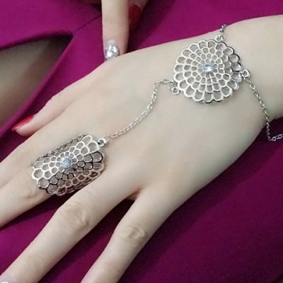 Trendy Hollow Out Flower Shape Bracelet With Ring For Women