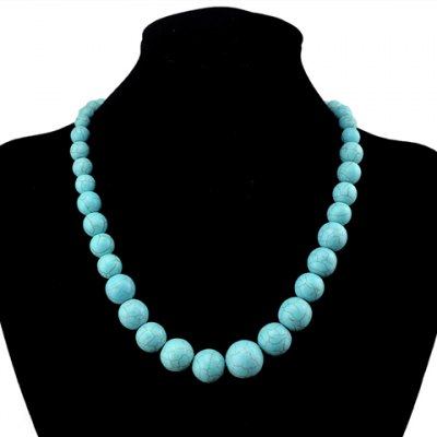 Retro Turquoise Ball Shape Necklace For Women
