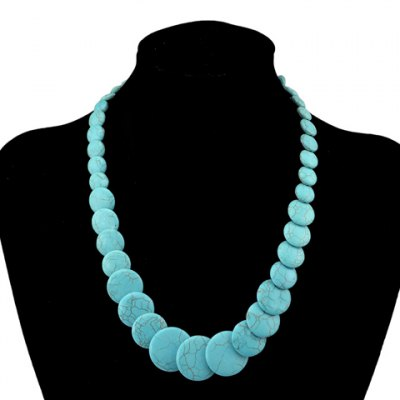 Retro Turquoise Round Shape Necklace For Women
