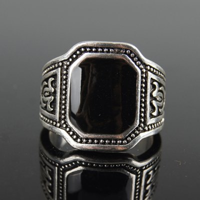 Retro Faux Crystal Rectangle Carving Ring For Men