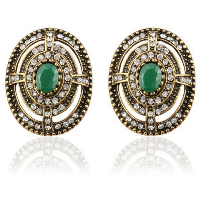 Pair of Vintage Rhinestone Artificial Gemstone Oval Earrings For Women