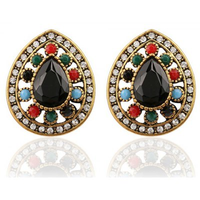 Pair of Chic Rhinestoned Water Drop Hollow Out Earrings For Women