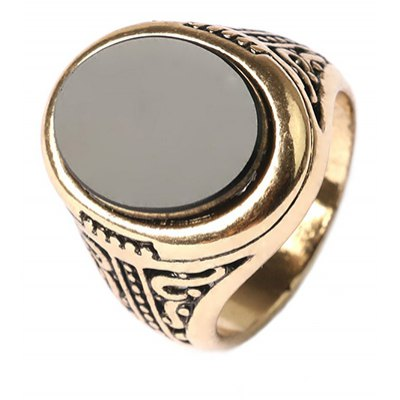 Retro Faux Crystal Oval Hollow Out Carving Ring For Men