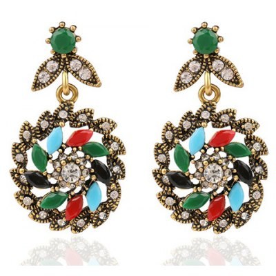 Pair of Vintage Rhinestone Floral Leaf Hollow Out Earrings For Women