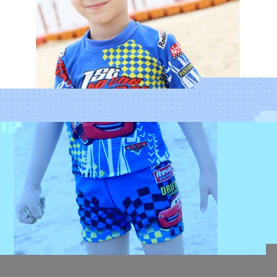 Cute Cartoon Pattern Short Sleeve Round Neck Top + Shorts Boy's Swimsuit