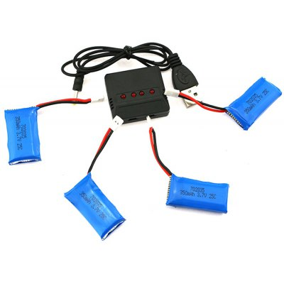 4 x 350mAh 25C Battery with Balance Charger / Cable Set Fitting for Hubsan X4 Wltoys V939 Quadcopter