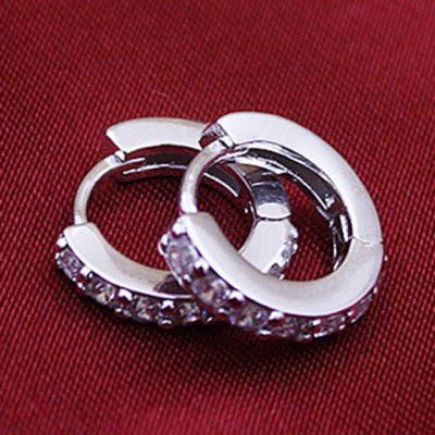 Pair of Graceful Rhinestoned Hollow Out Hoop Earrings For Women