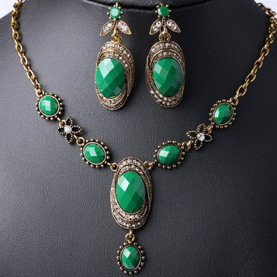 Rhinestoned Faux Gemstone Oval Necklace and Earrings