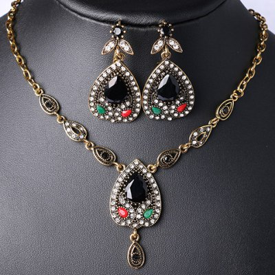 A Suit of Chic Rhinestone Faux Gemstone Water Drop Necklace and Earrings For Women