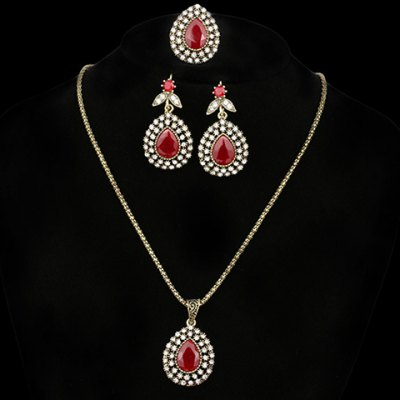 A Suit of Graceful Rhinestoned Faux Gemstone Water Drop Necklace Ring and Earrings For WomenNecklaces &amp; Pendants<br>A Suit of Graceful Rhinestoned Faux Gemstone Water Drop Necklace Ring and Earrings For Women<br><br>Item Type: Pendant Necklace<br>Gender: For Women<br>Style: Classic<br>Shape/Pattern: Water Drop<br>Weight: 0.090KG<br>Package Contents: 1 x Necklace 1 x Ring 1 x Earring (Pair)