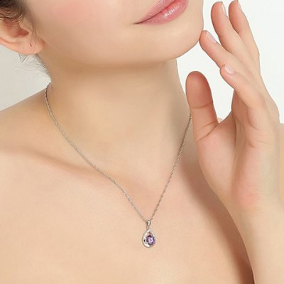 Delicate Faux Crystal Hollow Out Water Drop Pendant Necklace For WomenNecklaces &amp; Pendants<br>Delicate Faux Crystal Hollow Out Water Drop Pendant Necklace For Women<br><br>Item Type: Pendant Necklace<br>Gender: For Women<br>Necklace Type: Link Chain<br>Style: Trendy<br>Shape/Pattern: Water Drop<br>Length: 40CM<br>Weight: 0.060KG<br>Package Contents: 1 x Necklace
