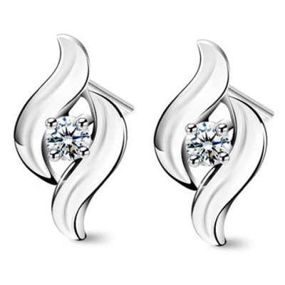 Pair of Trendy Rhinestoned Hollow Out Earrings For Women