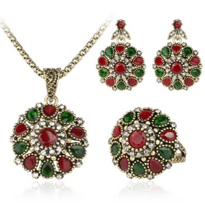 A Suit of Noble Round Faux Gemstone Necklace Ring and Earrings For Women