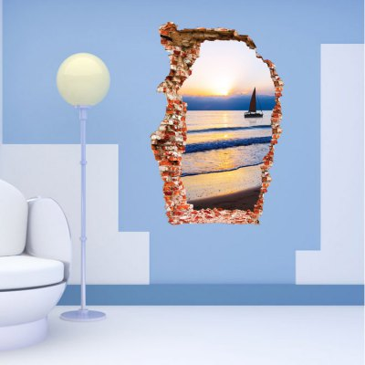 3D Sea Boat Sunset PVC Wall Stickers