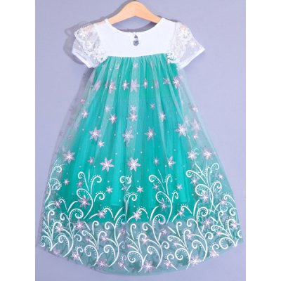 Stylish Short Sleeve Lace Spliced High Low Floral Mini Ball Gown Dress For Girl от GearBest.com INT