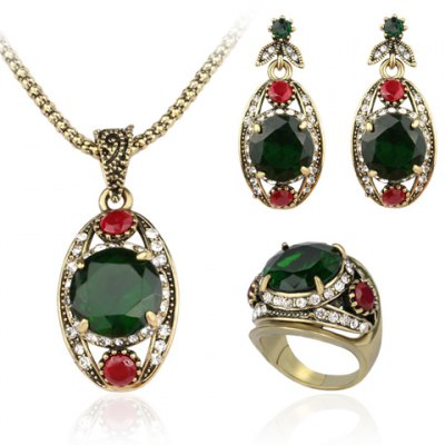 A Suit of Noble Faux Crystal Oval Shape Necklace Ring and Earrings For Women