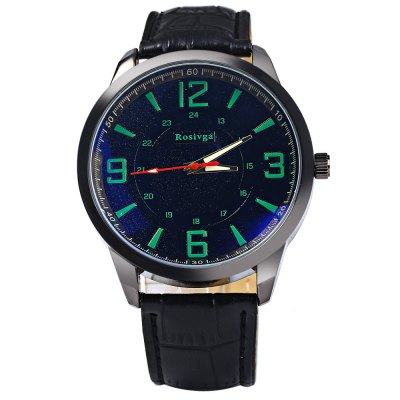 Rosivga Male Quartz Watch with Three Scales Leather StrapMens Watches<br>Rosivga Male Quartz Watch with Three Scales Leather Strap<br><br>Brand: Rosivga<br>Watches categories: Male table<br>Watch style: Fashion<br>Available color: Black, White, Red, Blue, Green<br>Movement type: Quartz watch<br>Shape of the dial: Round<br>Display type: Analog<br>Case material: Stainless steel<br>Band material: Leather<br>Clasp type: Pin buckle<br>The dial thickness: 0.8 cm / 0.31 inches<br>The dial diameter: 4.5 cm / 1.77 inches<br>The band width: 2.2 cm / 0.87 inches<br>Wearable length: 17.5 - 22 cm / 6.89 - 8.66 inches<br>Product weight: 0.046 kg<br>Package weight: 0.096 kg<br>Product size (L x W x H): 27 x 4.5 x 0.8 cm / 10.61 x 1.77 x 0.31 inches<br>Package size (L x W x H): 28 x 5.5 x 1.8 cm / 11.00 x 2.16 x 0.71 inches<br>Package contents: 1 x Rosivga Watch